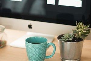 Blue Coffee Mug on Desk