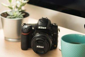 Nikon Camera on Desk