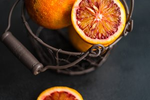 Organic food concept with red orange
