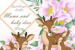 Mama and baby deer