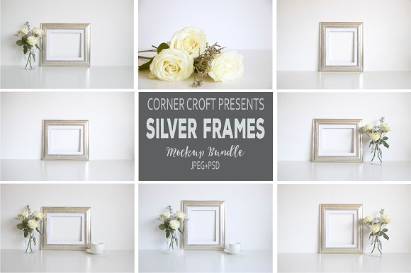Silver Photo Frame Mockup Bundle