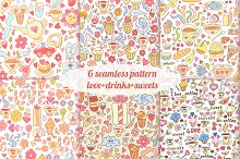6 sweet seamless patterns