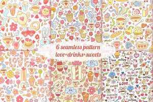 6 sweet seamless patterns