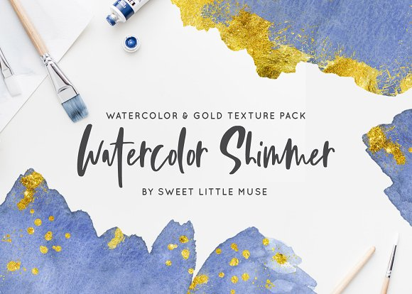 Watercolor And Gold Texture Pack