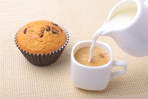 breakfast with muffin and coffee.