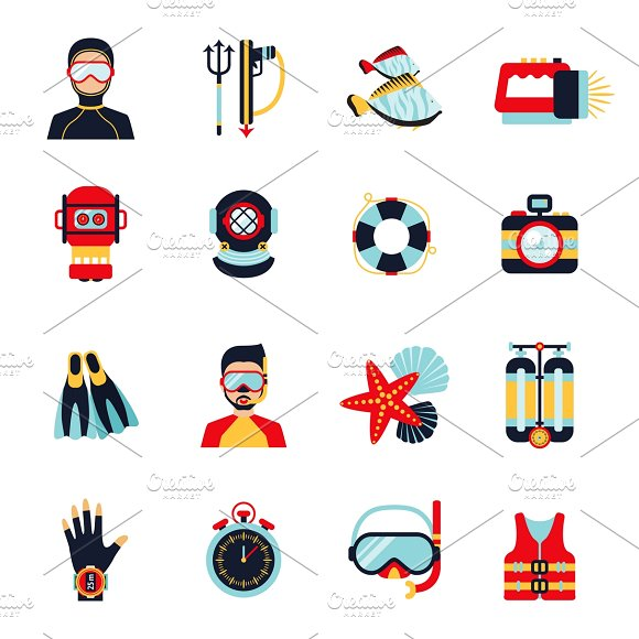 Diving Sport Icons Set