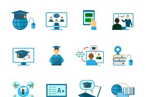 Online education icon flat set