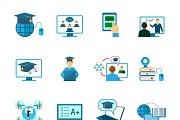 Online education icon flat set