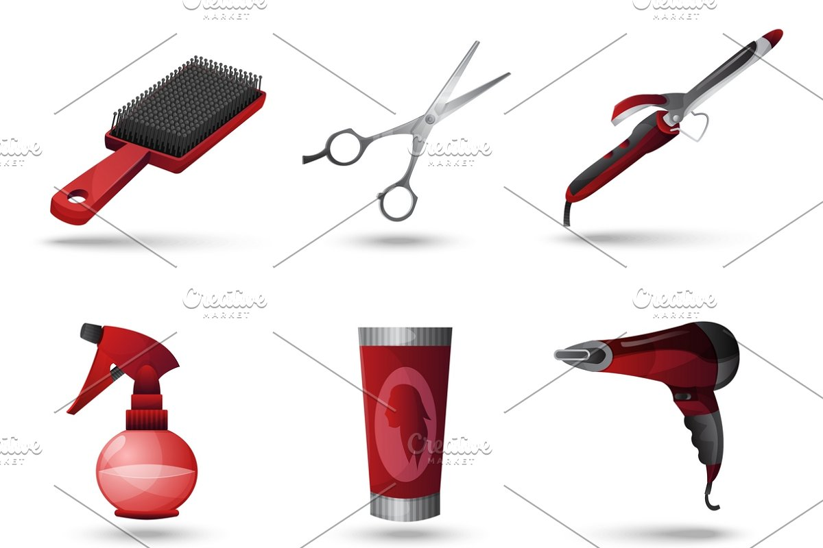 Hairdresser icons set in Icons - product preview 8