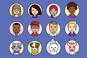 People and cute animals avatars