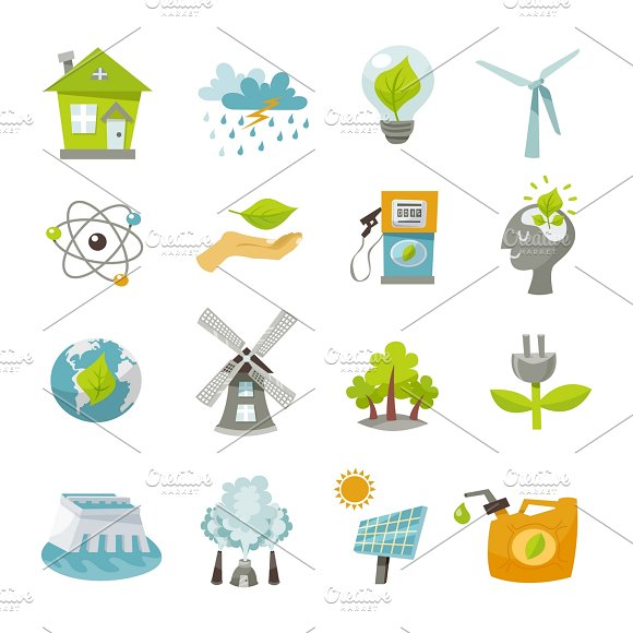Eco Energy Icons Flat Set
