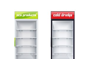 Two empty fridges illustration