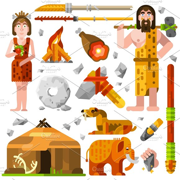 Prehistoric Stone Age Cartoon Icons