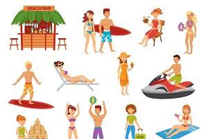Beach flat icons set