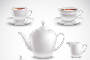 Realistic tea set