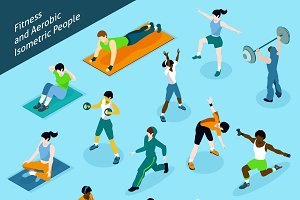 Fitness isometric people icons