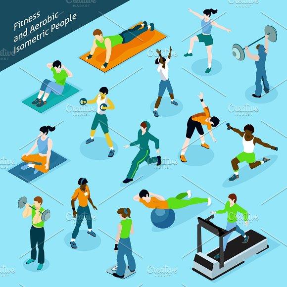Fitness Isometric People Icons