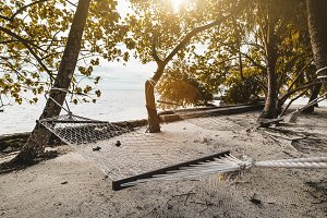 Two hammocks on the beach