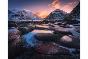 Sunrise in Utakleiv beach, Lofoten, Norway