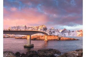 Beautiful bridge at sunrise in Lofoten, Norway