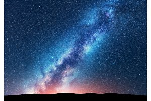 Milky Way ant stars. Space. Scenic night landscape