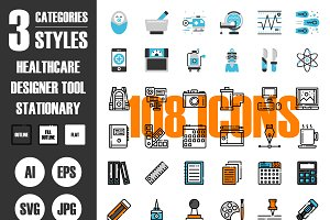 108 Icons×3 Styles Vol.3