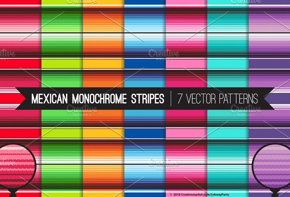 Vector Mexican Blanket Monochrome