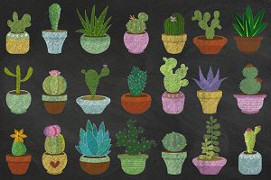 Chalkboard Cacti & Succulent Clipart