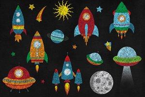 Chalkboard Rockets Clipart