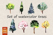 Set of watercolor trees