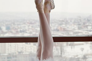 Slender ballerina's feet