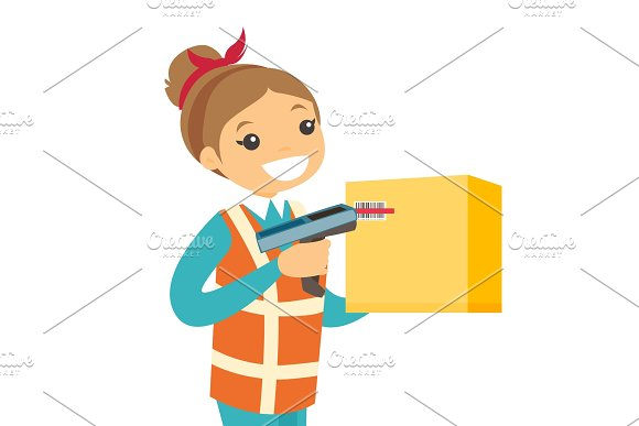 Caucasian Warehouse Worker Scanning Barcode On Box