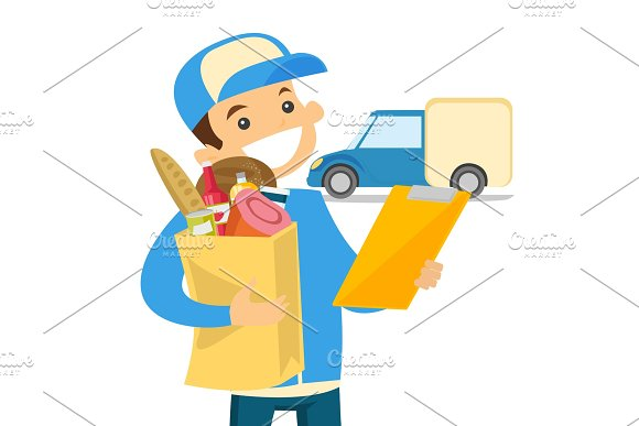 Delivery Courier Delivering Food To Customer