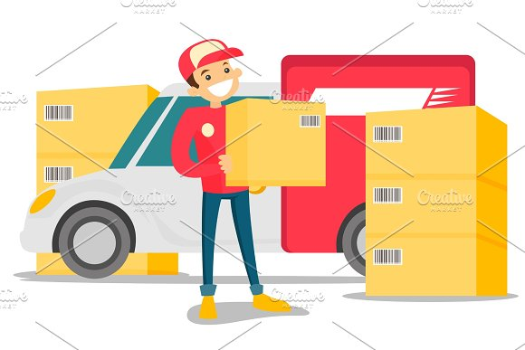 Caucasian Delivery Man Carrying Cardboard Box