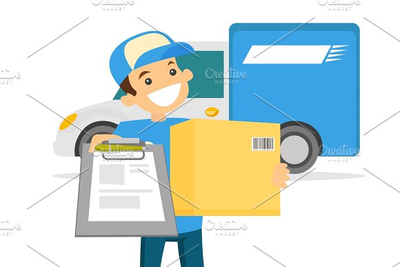 Young Delivery Man Delivering Parcel To Customer