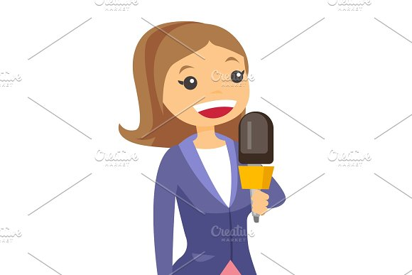 TV Reporter And Operator Vector Illustration