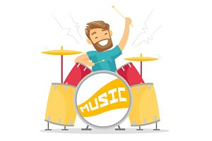 Woman playing on drum kit vector illustration.