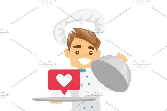 Waitress With Like Button Vector Illustration