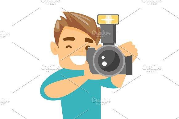 Photographer Taking Photo Vector Illustration