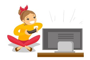 Woman playing video game vector illustration.