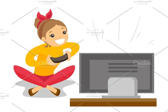 Woman Playing Video Game Vector Illustration