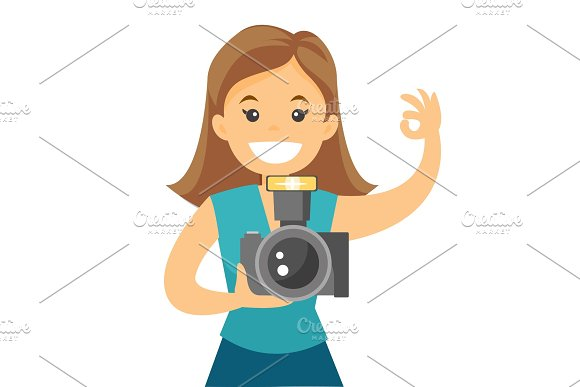 Photographer Taking Photo Vector Illustration