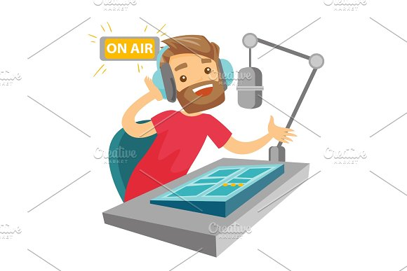 Female Dj Working On The Radio Vector Illustration