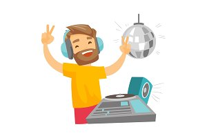 DJ mixing music on turntables vector illustration.