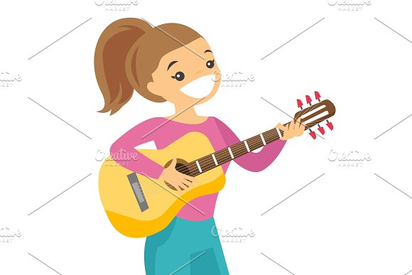 Woman Playing Acoustic Guitar Vector Illustration