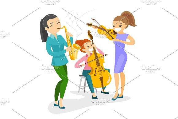 Band Of Musicians Playing The Musical Instruments