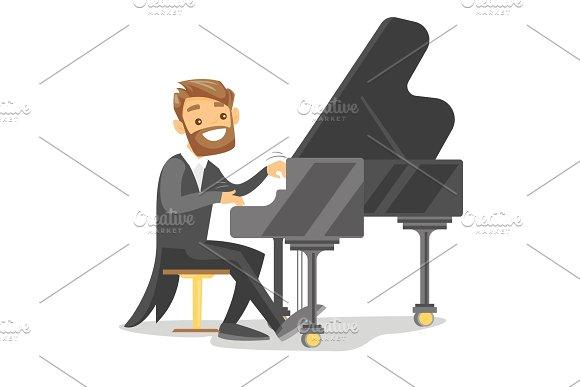 Young Caucasian White Man Playing Piano