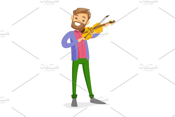 Young Caucasian White Man Playing Violin