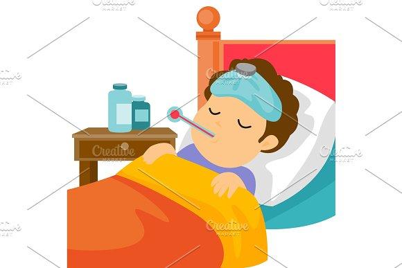 Sick Caucasain White Man Laying In Bed