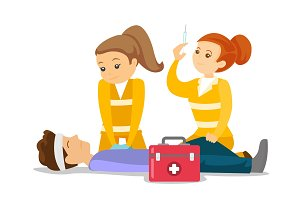 Doctors doing cardiopulmonary resuscitation.
